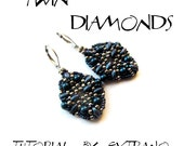 Superduo earrings tutorial, seed bead earrings, earrings tutorial, earrings pattern, superduo pattern, DIY jewelry  - TWIN DIAMONDS