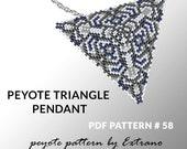 Peyote triangle pattern with instruction, peyote triangle instruction, triangle peyote pattern, native stitch, triangle peyote pendant #58