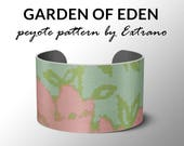 Peyote bracelet pattern, wide cuff pattern, even peyote stitch, peyote pattern, DIY jewelry - GARDEN of EDEN - 5 colors - Instant download
