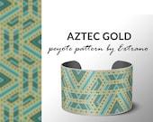 Beading pattern, pattern for bracelet, peyote pattern, peyote bracelet, bracelet pattern, peyote native, uneven peyote - AZTEC GOLD pattern