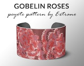 Bracelet peyote pattern, peyote bracelet, even peyote stitch pattern, delica pattern - GOBELIN ROSES - 5 colors - Instant download