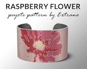 Peyote bracelet pattern, wide cuff pattern, even peyote stitch, peyote pattern, DIY jewelry - RASPBERRY FLOWER - 4 colors only - 2 versions