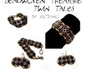 Bracelet tutorial, bracelet pattern, Superduo bracelet, Superduo tutorial, DIY jewelry, wide cuff pattern, beading tutorial, TWIN TALES