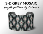 Peyote bracelet pattern, wide cuff pattern, uneven peyote stitch, peyote pattern, DIY jewelry - 3-D MOSAIC - 5 colors - Instant download