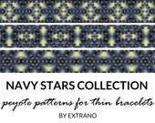 Peyote bracelet patterns, thin bracelet patterns, uneven peyote stitch, geometric peyote pattern, native american bracelets NAVY STARS