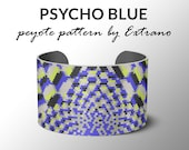 Peyote pattern bracelet, wide cuff pattern, even peyote stitch, peyote pattern, DIY jewelry - PSYCHO BLUE - 5 colors - Instant download