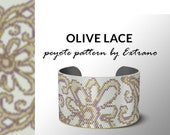 Peyote bracelet pattern, wide cuff pattern, even peyote stitch, even peyote pattern - OLIVE LACE  - 5 colors only - Instant download