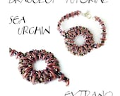 Bracelet tutorial, bracelet pattern, crescent beads pattern, bugle tutorial, DIY jewelry, wide cuff pattern, beading tutorial, SEA URCHIN