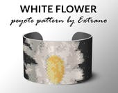 Peyote bracelet pattern, wide cuff pattern, even peyote stitch, peyote pattern, DIY jewelry - WHITE FLOWER - 8 colors only, Instant download