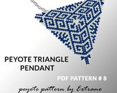 Peyote triangle pattern with instruction, peyote triangle instruction, triangle peyote pattern, native stitch, triangle peyote pendant #8