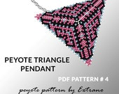 Peyote triangle pattern with instruction, peyote triangle instruction, triangle peyote pattern, native stitch, triangle peyote pendant #4