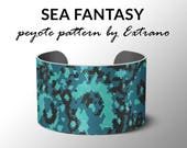 Peyote pattern bracelet, wide cuff pattern, even peyote stitch, peyote pattern, DIY jewelry - SEA FANTASY - 4 colors only - Instant download