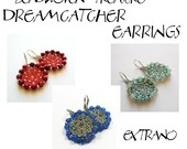 Round earrings tutorial, beaded earrings tutorial, seed beads earrings, beaded dreamcatcher, earrings pattern, round earrings - DREAMCATCHER