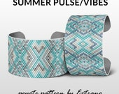 Peyote patterns, bracelet designs, odd count peyote, huichol bracelets, pdf patterns, Native american pdf peyote patterns SUMMER PULSE/VIBES