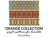 Peyote bracelet patterns, uneven peyote pattern, abstract peyote pattern, native american peyote pattern pdf diy tutorial ORANGE COLLECTION