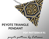 Triangle peyote pattern, peyote triangle pattern with instruction, peyote triangle how to, native peyote stitch, grey and gold pendant #91
