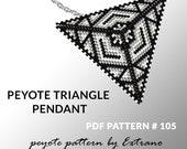 Peyote triangle pattern with instruction, peyote triangle instruction, triangle peyote pattern, native stitch, triangle peyote pendant #105