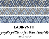 Peyote bracelet patterns, thin bracelet patterns, even peyote stitch, peyote pattern, native american bracelets patterns - THIN LABIRYNTHS