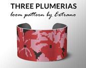 Bead Loom Pattern, Loom Tutorial, Beading Pattern, Loom Beading Pattern, Bracelet Tutorial, Bracelet Pattern, Loom Pattern - THREE PLUMERIAS
