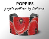 Peyote pattern, bracelet pattern, peyote bracelet, even peyote stitch pattern, delica pattern, 6 colors, PDF, instant download - POPPIES