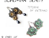 Superduo earrings tutorial, long earrings pattern, superduo pattern, bollywood earrings tutorial, bollywood earrings - BOHEMIAN BEAUTY