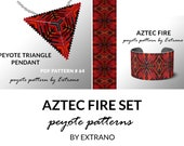 Bracelet with pendant pattern, peyote tutorial, uneven peyote pattern, triangle peyote pattern, pattern for red beaded set AZTEC FIRE