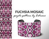 Bracelet design, odd count peyote, stitch pattern, pdf pattern, bracelet peyote, peyote pattern, native american jewelry FUCHSIA MOSAIC