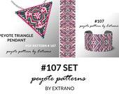 Bracelet with pendant pattern, peyote tutorial, uneven peyote pattern, triangle peyote pattern, pattern for beaded set #107 set