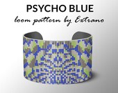 Bead Loom Pattern, Loom Tutorial, Beading Pattern, Loom Beading Pattern, Bracelet Tutorial, Bracelet Pattern, Loom Pattern - PSYCHO BLUE