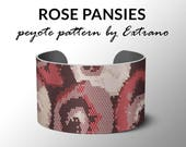 Peyote bracelet pattern, wide cuff pattern, even peyote stitch, peyote pattern, DIY jewelry - ROSE PANSIES - 6 colors only, Instant download