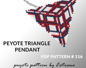 Triangle peyote pattern, peyote triangle pattern with instruction, peyote triangle how to, native stitch, red triangle peyote pendant #116