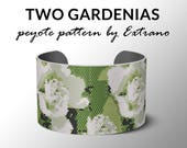 Peyote bracelet pattern, wide cuff pattern, even peyote stitch, peyote pattern, DIY jewelry - GARDENIA - 6 colors - 3 versions of pattern