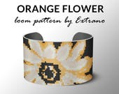 Bead Loom Pattern, Loom Tutorial, Beading Pattern, Loom Beading Pattern, Bracelet Tutorial, Bracelet Pattern, Loom Pattern - ORANGE FLOWER