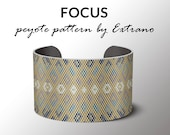 Peyote bracelet pattern, wide cuff pattern, uneven peyote stitch, peyote pattern, DIY jewelry - FOCUS - 5 colors only - Instant download