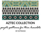 Peyote bracelet patterns, thin bracelet patterns, uneven peyote stitch, geometric peyote pattern, native american bracelets AZTEC pattern