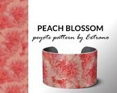 Peyote bracelet patttern, beading pattern, bead weaving pattern, seed bead pattern, peyote stitch pattern, floral pattern PEACH BLOSSOM