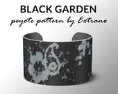 Peyote bracelet pattern, wide cuff pattern, even peyote stitch, peyote pattern, DIY jewelry - BLACK GARDEN - 4 colors - Instant download