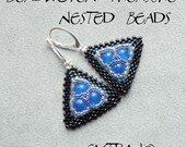 Peyote earrings tutorial, beaded earrings tutorial, seed beads earrings, frame for bead, earrings pattern, triangle earrings - NESTED BEADS
