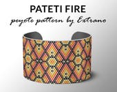 Peyote bracelet pattern, wide cuff pattern, uneven peyote stitch, peyote pattern, DIY jewelry - PATETI - 4 colors ONLY - Instant download