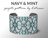 bracelet design, odd count peyote, stitch pattern, pdf pattern, bracelet peyote, uneven pyote pattern, native american jewelry, NAVY & MINT