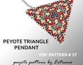 Peyote triangle pattern with instruction, peyote triangle instruction, triangle peyote pattern, native stitch, triangle peyote pendant #17
