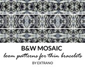 Loom bracelet patterns, thin bracelet patterns, loom stitch patterns, loom pattern, native american bracelets patterns BLACK & WHITE MOSAIC