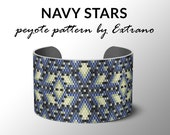 Peyote bracelet pattern, uneven peyote pattern, mosaic peyote pattern, peyote pattern, DIY jewelry NAVY STARS 6 colors, Instant download