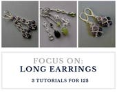 TUTORIAL - Long EARRINGS or PENDANTS : Buy  3 tutorials for 12.00 usd - instant download, set of earrings