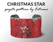 Peyote pattern bracelet, wide cuff pattern, even peyote stitch, peyote pattern, DIY jewelry - CHRISTMAS STAR - 7 colors - Instant download -