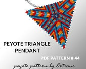 Peyote triangle pattern with instruction, triangle peyote pattern, native stitch and color, red, blue and yellow triangle peyote pendant #44