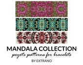 Peyote bracelet patterns, uneven peyote pattern, mosaic peyote pattern, navy american peyote pattern, bracelet tutorial MANDALA COLLECTION