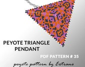 Peyote triangle pattern with instruction, peyote triangle instruction, triangle peyote pattern, native stitch, triangle peyote pendant #35