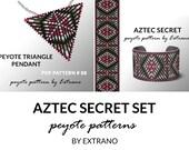 Bracelet with pendant pattern, peyote tutorial, uneven peyote pattern, triangle peyote pattern, pattern for beaded set AZTEC SECRET