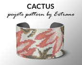 Peyote bracelet pattern, wide cuff pattern, even peyote stitch, peyote pattern, DIY jewelry - CACTUS - 6 colors only, Instant download